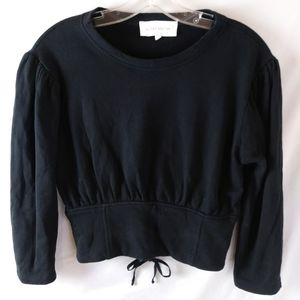 Guest Editor sweat shirt crop top lace up back